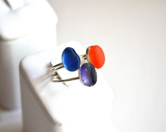 Size 7 Stackable Sterling Silver Seaglass Rings Purple Multi or Orange