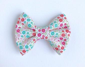The Pink and Blue Poppy Handmade Bow (Handmade Bow / Bow Tie / or Headband)