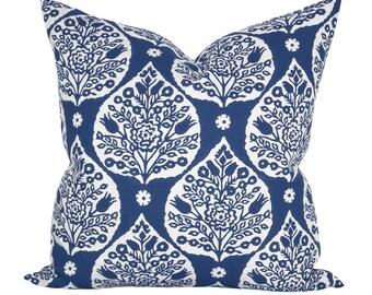 Little Lotus pillow cover in Maritime on White Linen