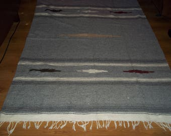 Vintage Mexican Blanket Rug Throw, Serape, Saltillo fringed, red black and white X Large 86 x 54 acrylic