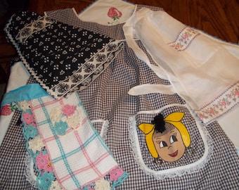 4 Lot vintage aprons handmade, 1 smock, 3 half apron fancy crochet, sheer dress, rick rack trimmed farmhouse