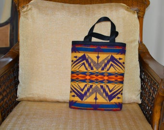 small TOTE BAG book bag carry on man bag purse handbag handmade of Pendleton Echo Peaks Wool purple mustard native american geometric arrows
