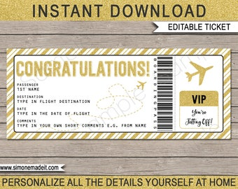 Congratulations Gift Boarding Pass Ticket - Printable Plane Ticket - Surprise Airplane Boarding Pass - INSTANT DOWNLOAD with EDITABLE text
