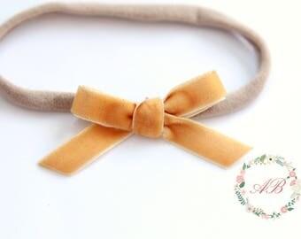 Mustard Velvet Bow Headband - Mustard Bow Headband - Hand Tied Bow Headband - Nylon Headband - Newborn Bow Headband