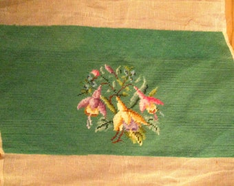 Vintage Needlepoint with Flowers
