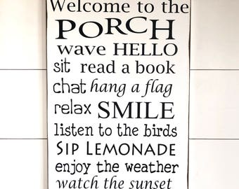 Large Wood Sign - Welcome to the Porch - Subway Sign - Farmhouse Sign - Porch Sign - Home Decor - Porch Decor - Welcome Sign - Housewarming