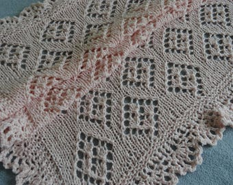 Hand knitted lace baby blanket, baby shower gift , light pink baby wrap READY TO SHIP