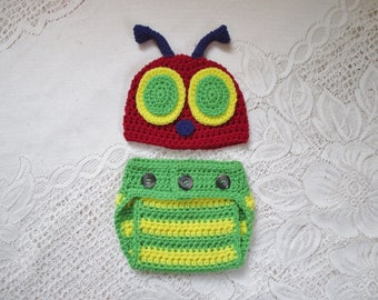 READY TO SHIP - 3 to 6 Month Size - Crochet Summertime Bug Hat and Diaper Cover Set - Photo Prop