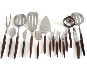 Epic Ekco Eterna Canoe Muffin Flatware Steak Knife Serving Pieces Slotted Serving Spoon Jelly Spreader Pie Server Cocktail Forks Silverware