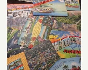 30% OFF SALE Vintage Florida Souvenir Folder Lot Travel 13 pc Assortment Teich Tichnor Color Pictures Cityscapes Nature Landmarks Paper Ephe