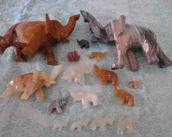 Vintage Elephant Figurines Carved Stone Lot Instant Collection Home Decor Collectibles Totems Statues 16 Pcs