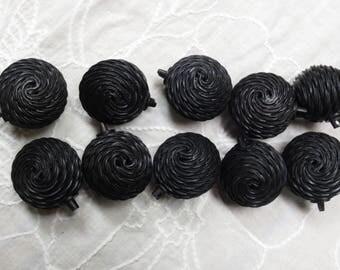 Vintage Black Buttons Shank Large Balls Textured Set of Ten DIY Sewing Supplies (10)