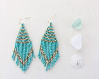 Tropical Days Beaded Tassel Earrings || Turquoise & Gold, Tassel Earrings, Beaded Earrings, Boho Earrings, Turquoise Earrings, Long Earrings