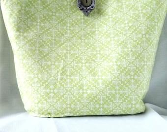 Women's Cotton Tote Bag, Green Tote bag, Modern Tote Bag, Reusable Tote Bag