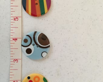 3 Colorful Fun Buttons