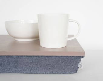 Serving Tray with support pillow, laptop lapdesk- pastel beige nude tray with Denim pillow