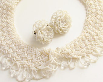 White Glass Beaded Ladies Collar matching Earrings 1940s - 1950s