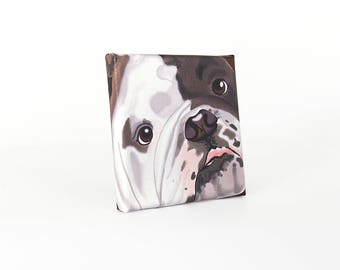 "English Bulldog Art Print on Canvas - Brindle Brown and White- English Bulldog Art - 5"" x 5"""