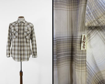 Vintage Levi's Shadow Plaid Shirt Off White Pearl Snap Long Sleeve - Large
