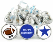 Set of 108 - Football Blue and Red Silhouette Stickers for Hershey's Kisses. Football Birthday Kiss Labels. Buy more and save - #IDBBS300