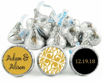 Set of 108 - Gold Wedding Stickers for Hershey's Kisses. Gold Wedding Kiss Labels - Gold Wedding Party Favors - Gold Anniversary - #IDWED701