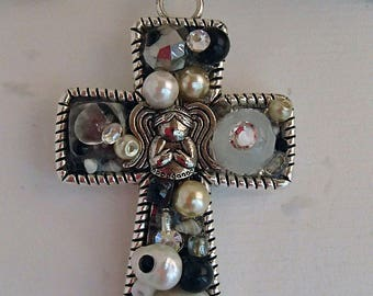 Cross and angel pendant necklace with vintage beads