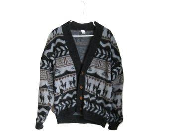 Llama Wool Cardigan Sweater Ecuador Mens Button Down Long Sleeve Size Large