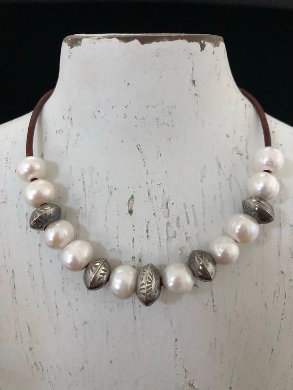 Handmade Jewelry, Southwestern, Boho, Freshwater Pearls, Navajo Pearls, Leather Necklace