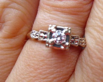Art Deco Engagment Ring  White and yellow gold.....VS diamond....European Cut Diamond Ring