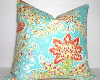 FALL is COMING SALE Dena Design Flower Print Pillow Cover Turquoise Blue Green Coral Decorative Throw Pillow Covers
