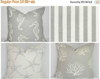 FALL is COMING SALE Nautical Gray Natural Pillow Covers Starfish Coral Seahorse Stripe Grey Decorative Nautical Pillow Covers Choose Size