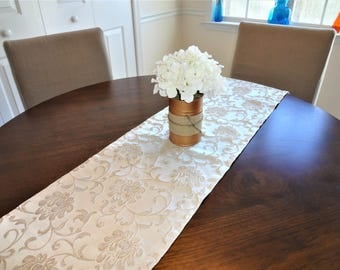 Christmas Gold Floral Damask Holiday Table Runner Dining Room Decor Home Decor by Home Living