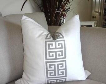 SPRING FORWARD SALE White & Grey Greek Key Pillow Cover Grey Greek Key Decorative Pillow Cover Choose Size