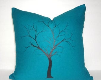 SPRING FORWARD SALE Beautiful Dark Teal Screenprinted Black Tree Pillow Cover Size 18x18 Elegant Bold Color