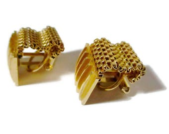 Vintage Mesh Wrap Around Cufflinks Gold 1960s