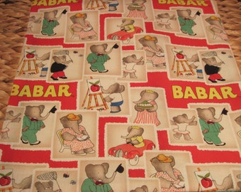 """14"""" x 14"""" PILLOW COVER -  Storybook Characters BABAR and Celeste Elephant Family"""