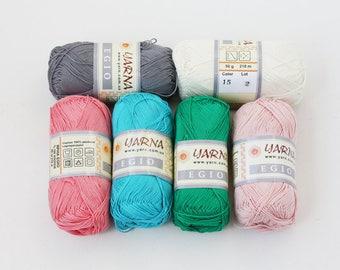 Yarna Egio 100% mercerized cotton yarn Gray Ivory Pink Turquoise blue Green Knit Crochet thread Craft supplies DIY 50 g skein Summer