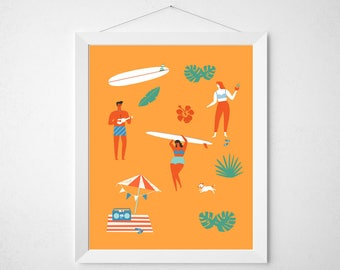 Retro Summer Print - mid century modern palm springs pool tropical swimming pool beach poster wall art deco orange surf retro vintage bikini