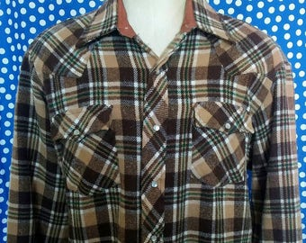 1970's-1980's pearl snap flannel shirt, XL