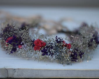 Real dried baby breath wreath, dried flowers crown
