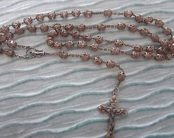 Vintage Old Silver Glass Rosary Bead Bead Necklace BEAUTIFUL