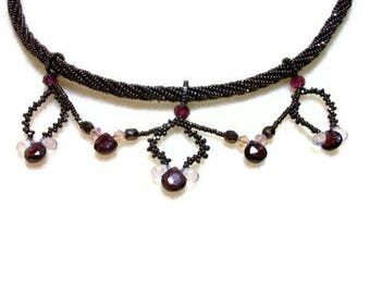 CLEARANCE SALE Victorian Garnet Necklace - Beadwoven with Crystals & 14 Karat Gold Plated Box Clasp