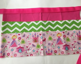 Classroom Apron-  Fairy Tale (pink & green chevron)