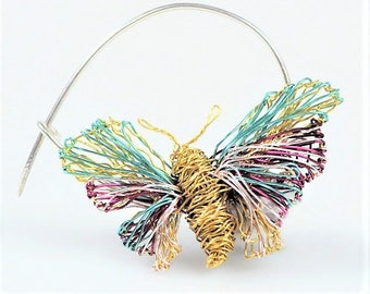 Pastel butterfly brooch,  cute pin, gold purple,  wire insect, nature, everyday jewelry,  modern boho, Christmas gift,  present for sister