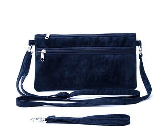 Small crossbody bag purse  for holding smartphone,wristlet wallet clutch purse bag in navy ,Travel wallet,cash, credit cards, coins,