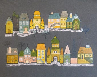 Vintage Large Serving Tray Village House Buildings
