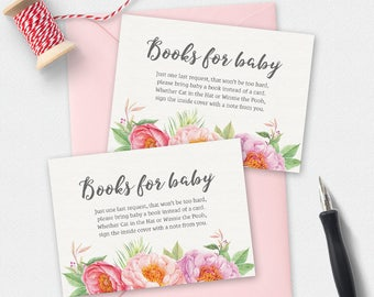 Printable books for baby card peonies, baby shower games, girl book card, floral books for baby card, baby book card, 3.5 x 2.5 inch