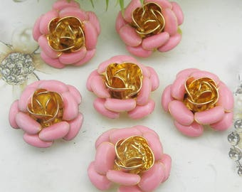 6pcs( 19mm ) Gold Plated Hand Made Resin Glossy Bead Cap,Red/Pink(RG01)