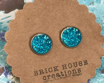 Caribbean Waters Druzy earrings