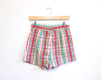 Vintage 1960s Shorts | Red and Green Plaid 1960s 50s shorts | size small